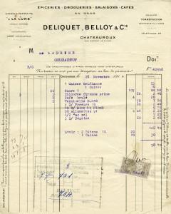 Free vintage clip art French invoice Deliquet Belloy
