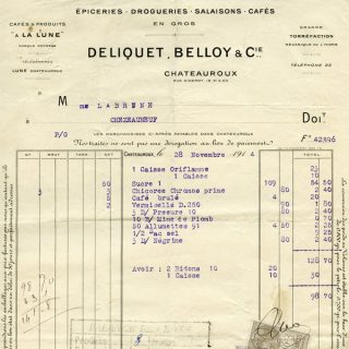Free vintage clip art French invoice Deliquet Belloy