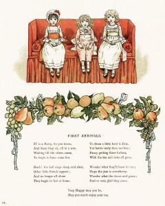vintage storybook image, kate greenaway, marigold garden, first arrivals poem, children on couch clip art, fruit border clipart