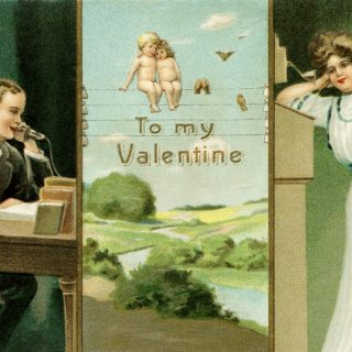 Free vintage clip art Valentine postcard man and woman on phone cherubs on telephone wire