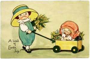 Free vintage clip art Easter girl pulling little sister in wagon