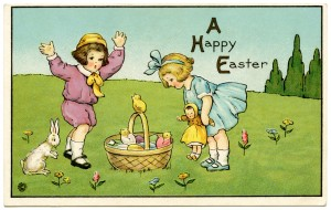Free vintage clip art Easter children in meadow with bunny and basket