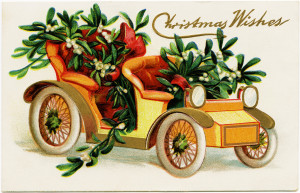 vintage christmas postcard, car filled with mistletoe, old fashioned christmas card, holiday printable, free vintage graphics