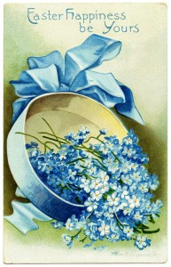 Free vintage clip art hat box filled with blue flowers Easter postcard