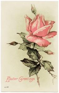 free vintage clip art Easter postcard pink rose