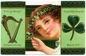 Free vintage clip art St Patricks Day Erin Go Bragh shamrock harp