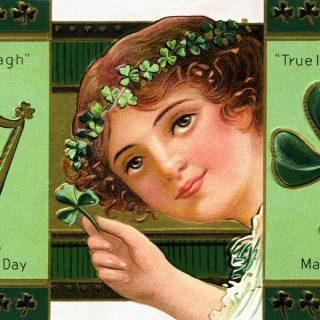Free vintage clip art St Patricks Day Erin Go Bragh clover harp
