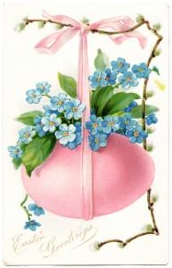 Free vintage clip art Easter postcard pink egg blue flowers
