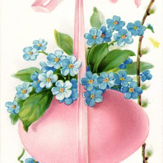Free vintage clip art Easter postcard pink egg blue flowers