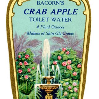 Free vintage clip art Bacorns crab apple toilet water perfume label