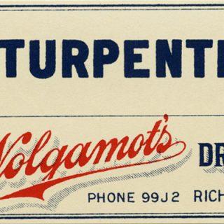 Free vintage pharmacy label Wolgamots drug store turpentine