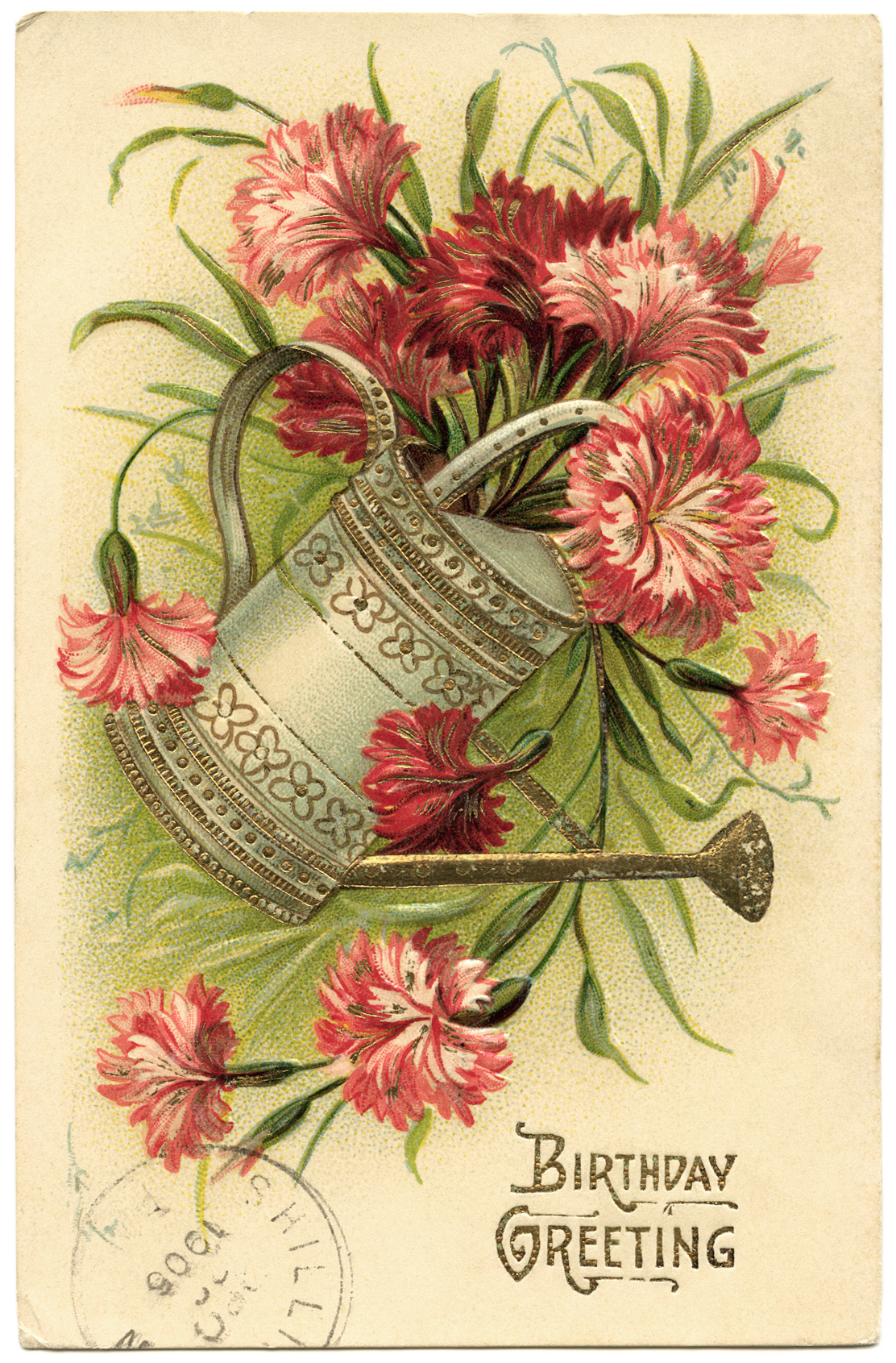 Pail of Flowers Vintage Birthday Card - Old Design Shop Blog