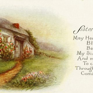 Free vintage clip art country cottage postcard sister's birthday