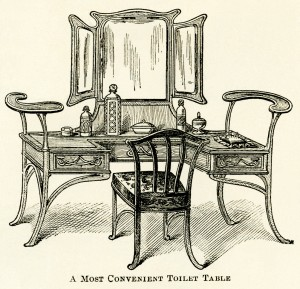 antique furniture illustration,antique toilet table,free digital clipart,free Victorian furniture image,old fashioned furniture,vintage make up table