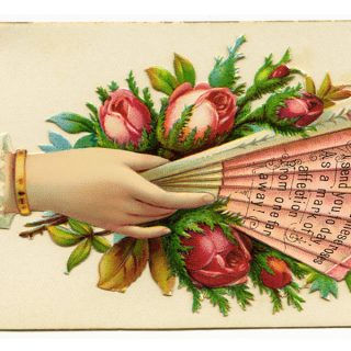Free vintage clip art Victorian calling card hand fan roses