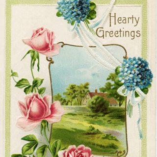 Free vintage clip art pink roses blue flowers hearty greetings postcard