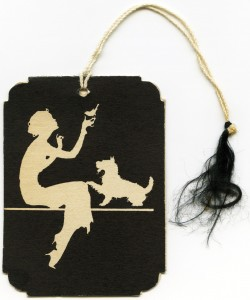 Free vintage clip art woman bird dog tag
