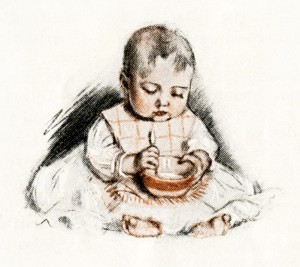 vintage baby illustration, victorian baby, baby eating from bowl, free vintage image, Maud Tousey Fangel, antique magazine baby image, baby eating by self image, free printable, vintage digital graphics for design, public domain baby image