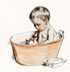 vintage baby illustration, victorian baby, baby bathing in tub, cute baby antique, baby bath with rubber duck, free vintage image, Maud Tousey Fangel, antique magazine baby image, free printable, vintage digital graphics for design, public domain baby image