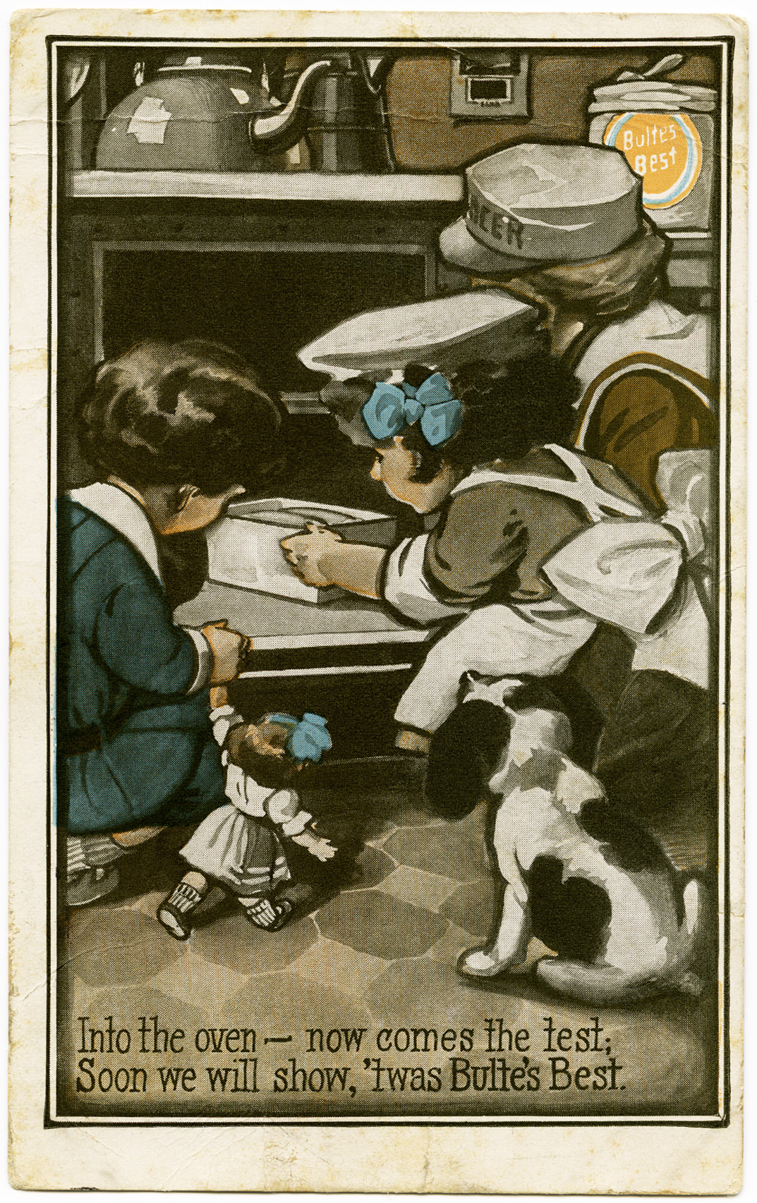 bulte's best flour, 1910 postcard, free vintage postcard, digital download graphics, free printable, antique postcard, kids in the kitchen, boy girl dog baking, children baking, free printable, free victorian clipart, royalty free illustration, public domain graphics, old design shop