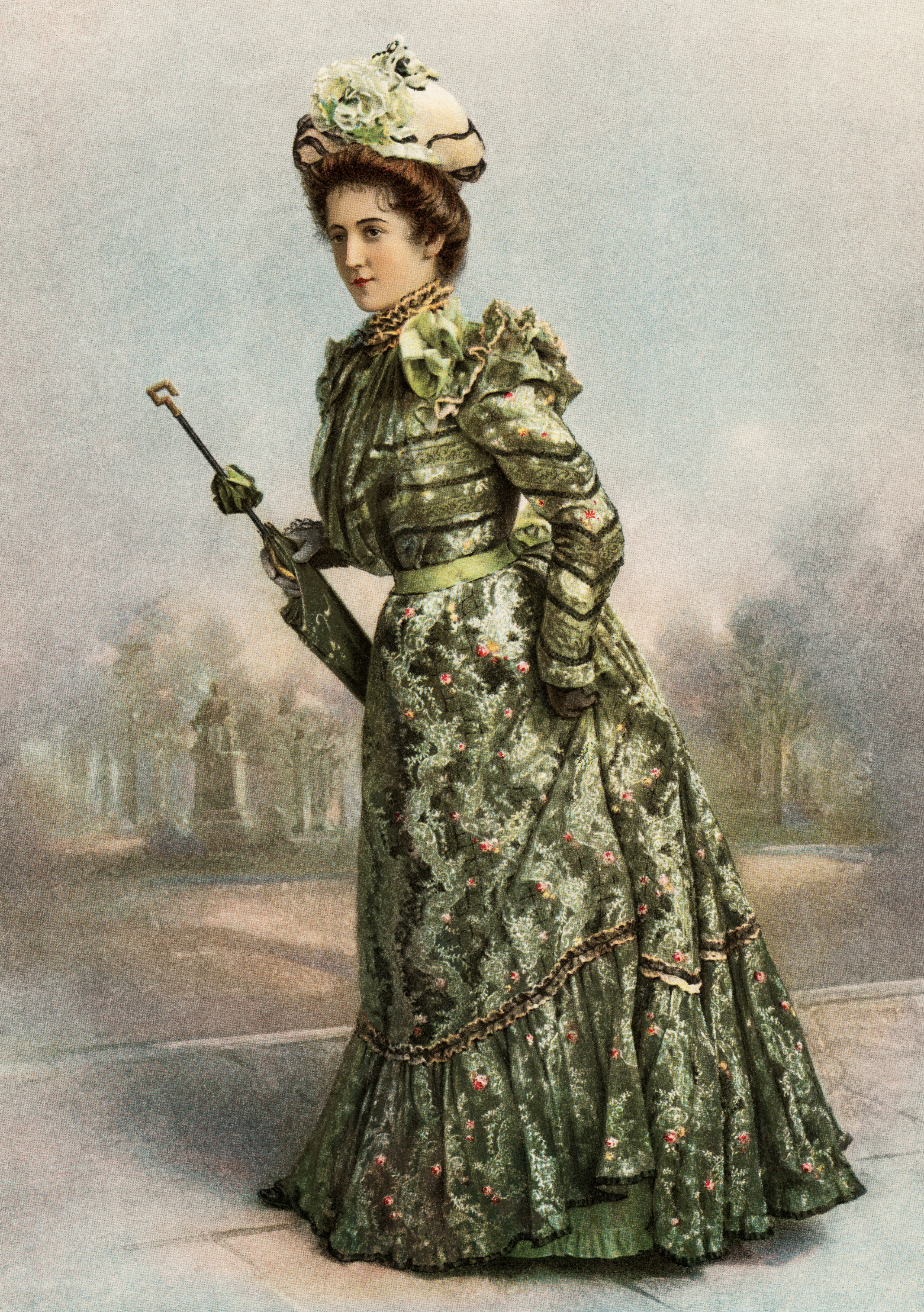 free digital image, free vintage clipart, victorian lady, victorian fashion image, fashion 1900, green victorian dress, dainty spring gown image, vintage fashion illustration, copyright free vintage images, vintage graphics for digital design, free printable, antique fashion picture