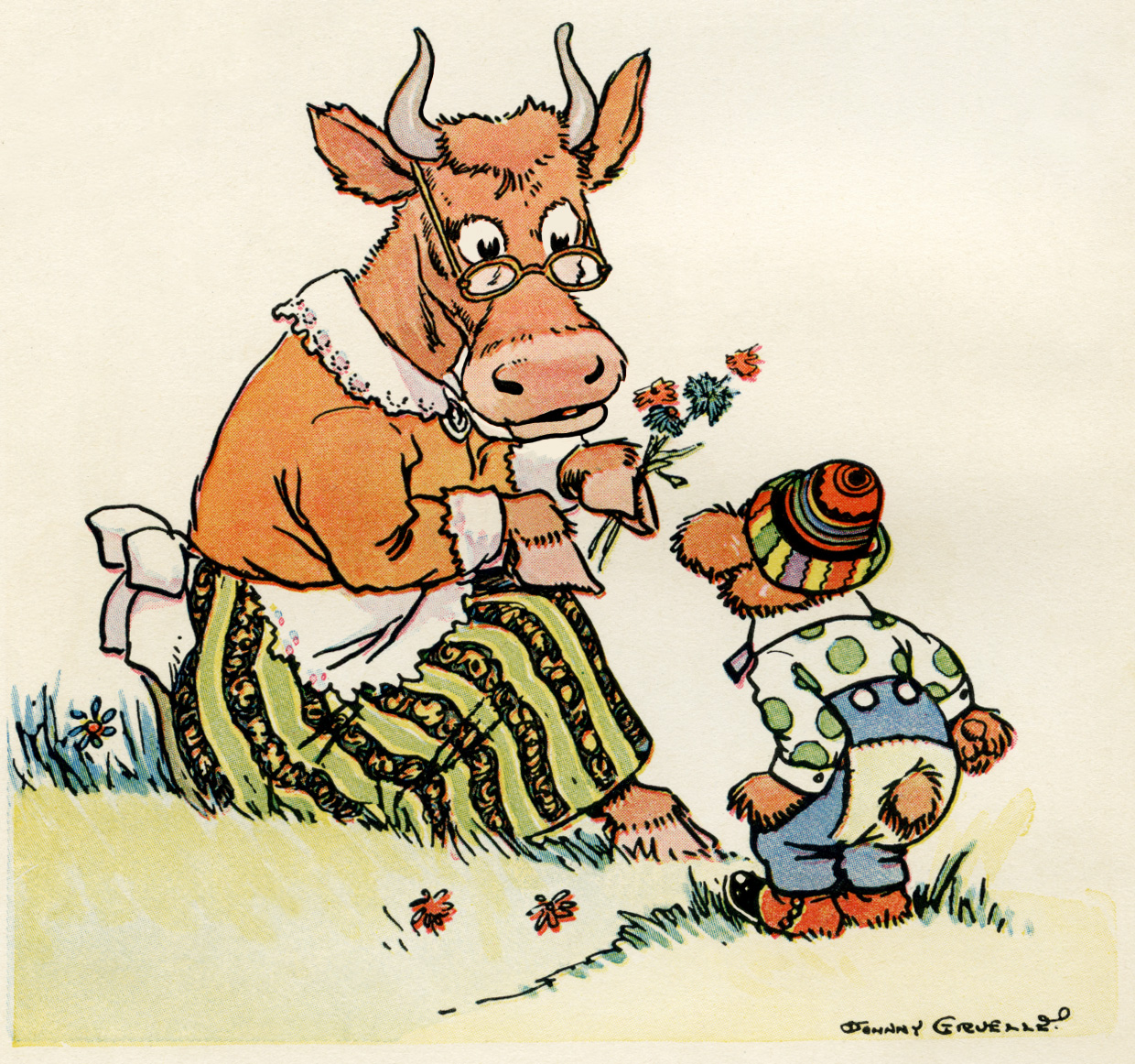 johnny gruelle illustration, vintage storybook image, cartoon bear and cow, little bear illustration, free vintage image, free vintage clipart, vintage storybook bear, vintage storybook image, antique clipart, digital image for graphic design, copyright free image, childrens story picture, 1920 storybook image, the little brown bear, public domain image
