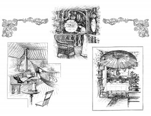 vintage outdoor furniture clip art