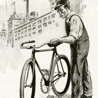free vintage man with bicycle image