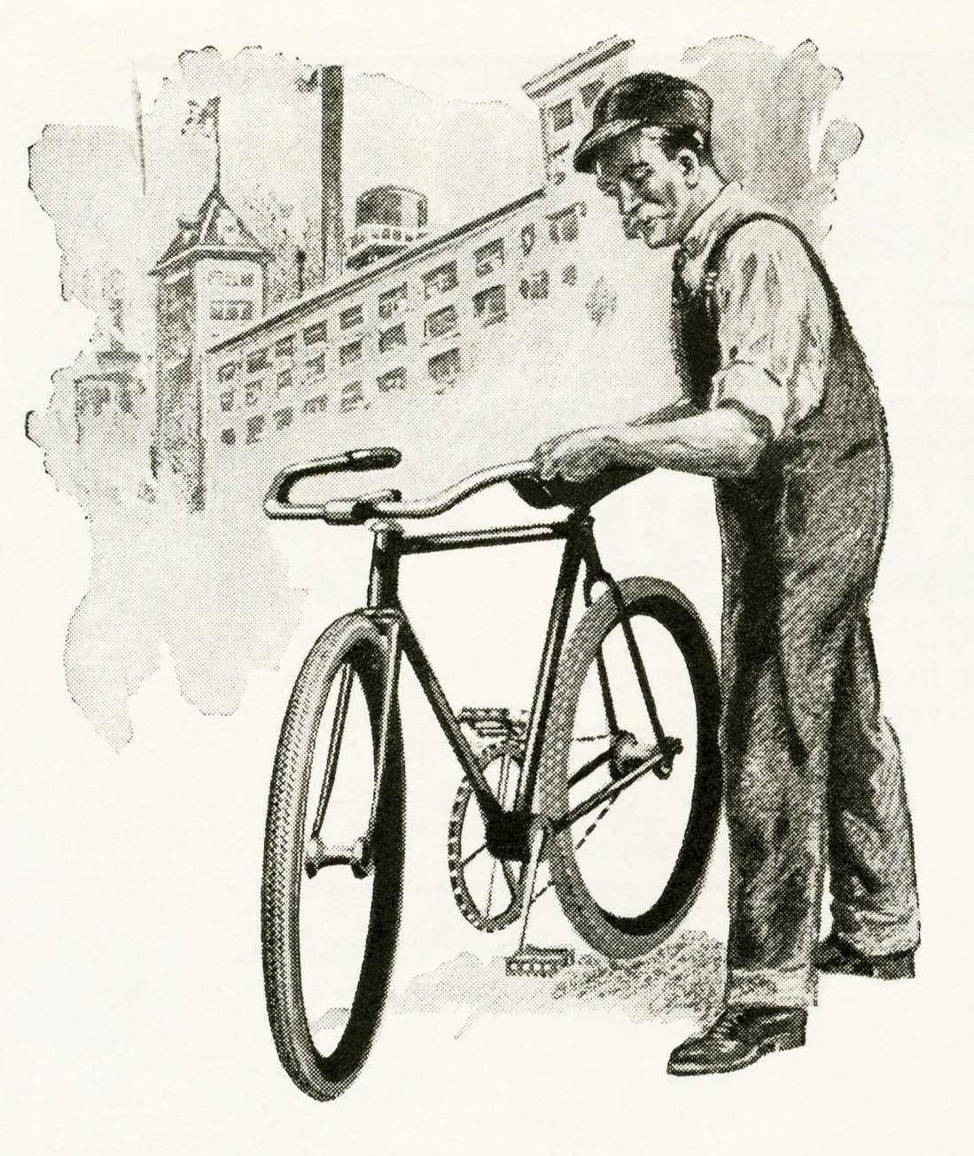 Man With Bicycle Vintage Image