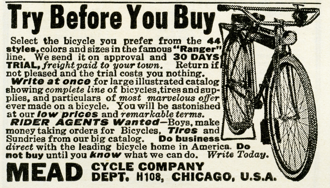 free vintage image, free vintage clipart, old magazine ad, graphic design image, old magazine ad, mead bicycle advertisement, bike 1919, free printable, antique bicycle, public domain ad