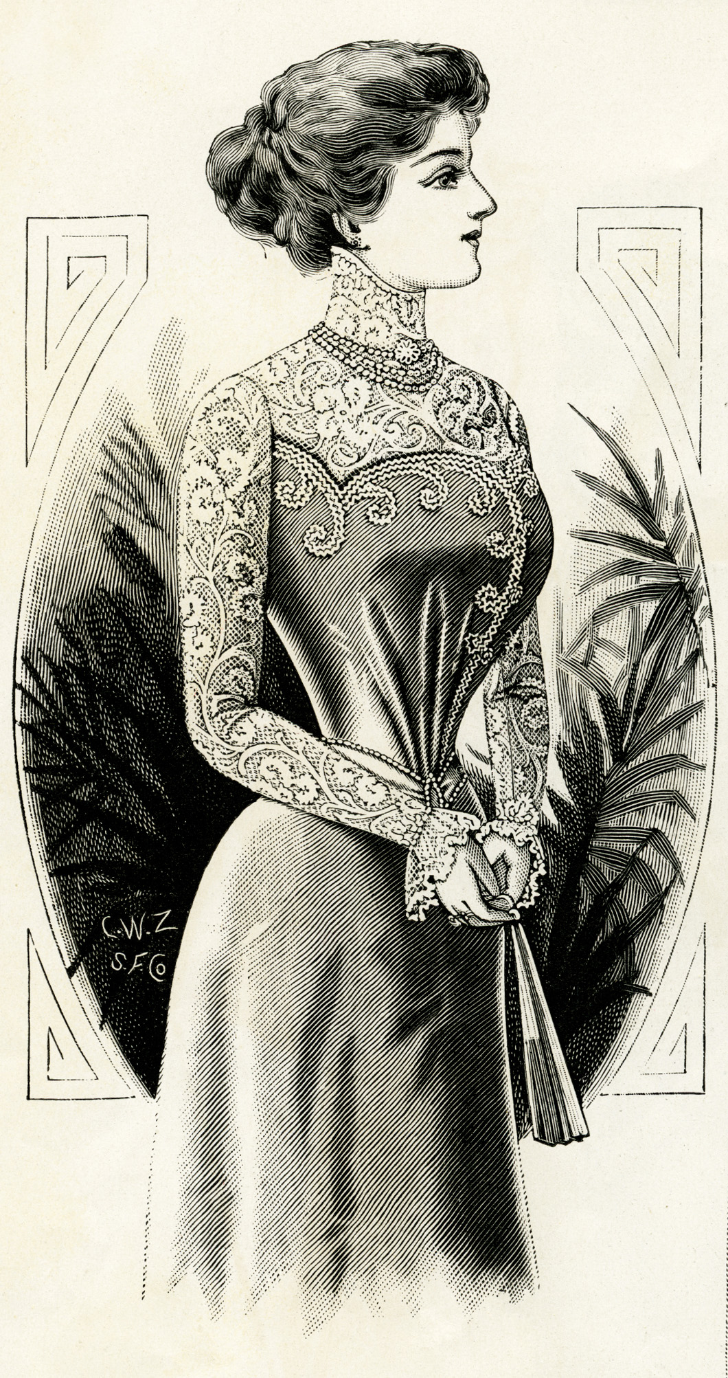 victorian lady, 1899 fashion, stylish victorian woman, free printable, old magazine sketch of lady, pretty vintage girl, public domain digital image, graphic design resource, antique designer illustration