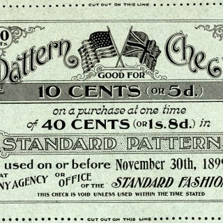 Free vintage clip art pattern check sewing coupon