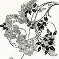 Vintage floral swirl clip art illustration