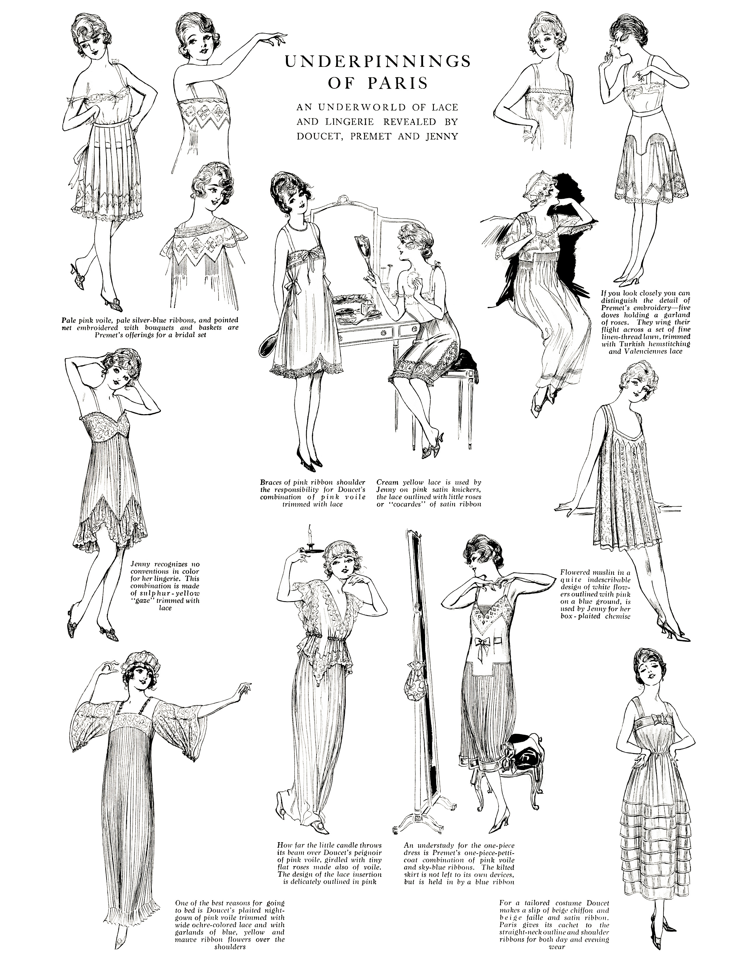 Free Digital Collage Sheet Underpinnings Of Paris 1917 Vintage Fashion The Delineator