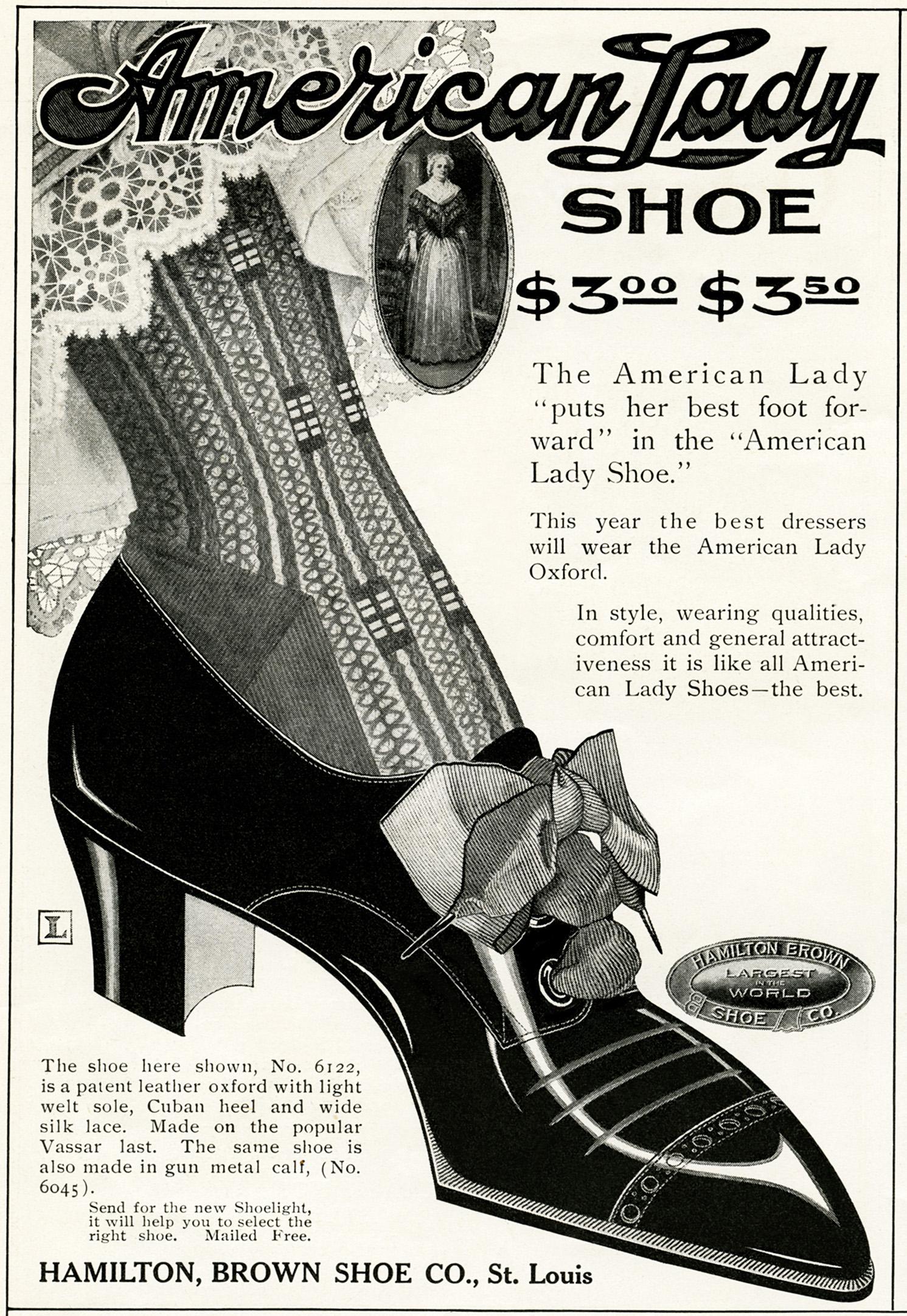 american lady shoe vintage advertisement old design shop