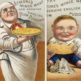 Free vintage clip art Atmore's Mince Meat and Plum Pudding Victorian trade card chef with pie