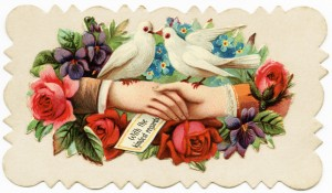 Free vintage clip art Victorian calling card hands shaking doves roses
