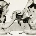 Children at table eating free vintage clip art illustration