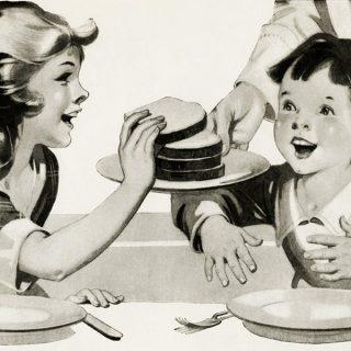 Children at table eating free vintage clip art illustration