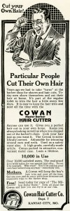 Free vintage clip art Cowan hair cutter happy man magazine advertisment