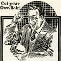 Free vintage clip art Cowan hair cutter happy man magazine advertisment