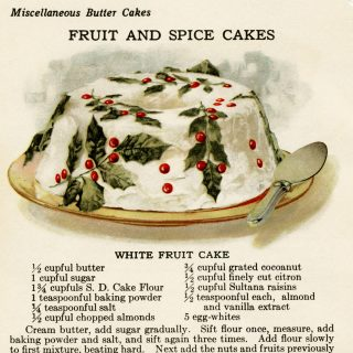 free vintage illustrated fruit cake recipe