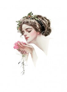 Harrison Fisher girl, The Christmas Rose, Fair Americans, Victorian lady admiring pink rose, Christmas holly in hair, lady with pink rose vintage image