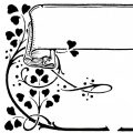 Vintage swirl and hearts clip art design
