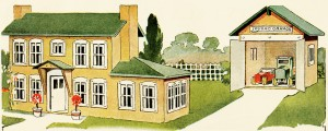 house and garage illustration, free vintage image, old fashioned yellow house, vintage vehicles parked in garage, vintage clipart house