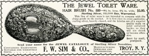 vintage brush ad, antique jewel toilet ware sterling silver brush, 1896 antique advertisement, free vintage clipart, F W Sim & Co advertising