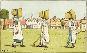 kate greenaway, under the window 1880, girls walking illustration, vintage image badminton, vintage storybook image, victorian children