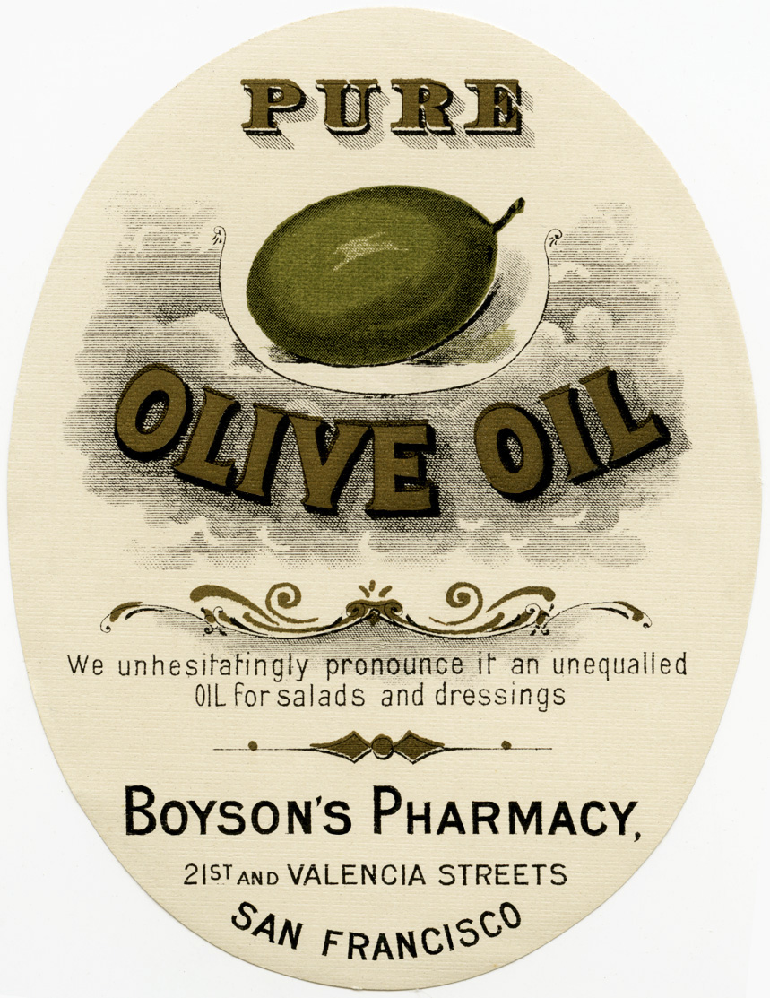 free vintage clipart, boyson's pharmacy label, antique pharmacy label, pure olive oil vintage sticker label