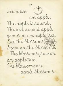 Free vintage clip art school reader book page apple