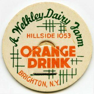 vintage milk bottle cap, orange drink milk cap, cardboard milk tag, welkley dairy farm, orange green milk cap, free vintage clipart